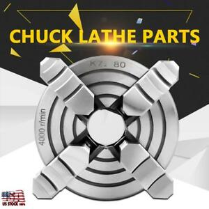 80mm 3 15 4 Jaw Metal Lathe Chuck Independent Jaws Key Handle Recessed Back