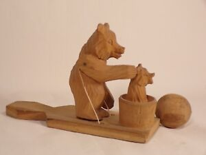Vintage Carved Black Forest Bear W Baby Animated Toy