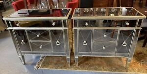 Pair Large Mid Century Style Mirrored Modern Chests Commodes Dressers Bed Stands