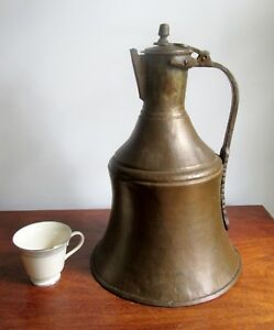 Antique 17 Tall Ex Large Brass Copper Lidded Pitcher Kettle W Spout