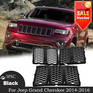 For Jeep Grand Cherokee 2014 2016 3pcs Mesh Grille Insert Kit Front Grill Cover