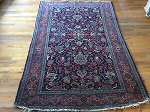Authentic Antique Persian Bijar Rug Hand Woven All Wool 1920 S