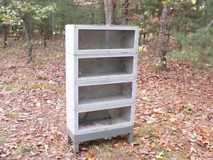 Industrial Metal Barrister Bookcase Mid Century Modern Era Decor Medical Cabinet