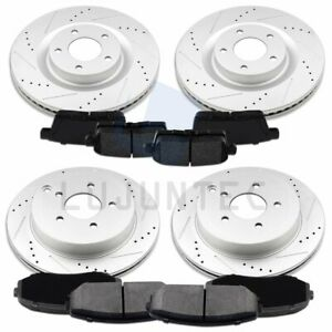 Front Rear Brake Disc Rotors And Ceramic Pads For 2007 2010 Ford Edge Drill Slot