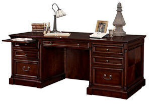 Dark Brown Cherry Double Pedestal Executive Office Desk With 2 File Drawers