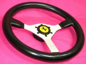 Momo 350mm Ferrari Steering Wheel Beep Button Black Leather Silver Spoke