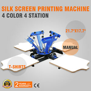 4 Color 4 Station Silk Screen Printing Machine Wood Cutting Glass Heat Press