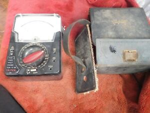 Vintage Triplett 630 ns Ohm Probe Multi Meter With Rare Leather Case