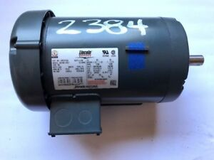 Lincoln 1 1 2 Hp Electric Motor 1750 Rpm 208 230 460v Fr 145t 60hz 3ph 2384 3