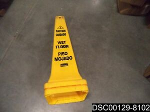 Qty 4 Rubbermaid Fg627677yel Safety Cone Caution Wet Floor Eng sp