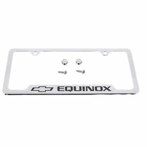 Oem New License Plate Frame Chrome W Black Equinox Logo 14 19 Chevrolet 19330387