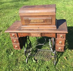 Antique Arlington Treadle Sewing Machine Wood Cabinet Ornate Cast Iron Base