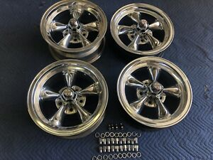 Rare Set Of 4 Vintage Real Torque Thrust D Wheels 15 X 7 64 3 4 Chevy