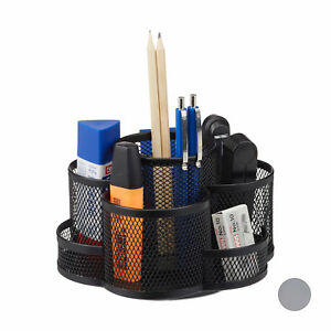 Pencil Holder With 7 Compartments Metal Mesh Stationery Organizer Round