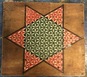 Original Early 20th Century Antique American Painted Chinese Checkers Gameboard
