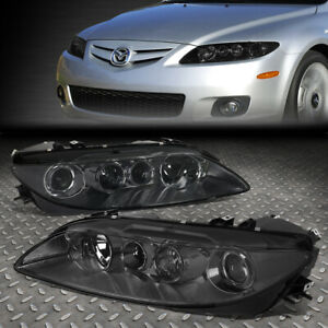 For 03 05 Mazda 6 Smoked Housing Clear Corner Projector Driving Headlight Lamps