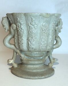 Extremely Rare Antique Korean Molded Stoneware Pottery Stem Cup Chilong Handle