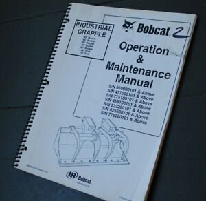 Bobcat Industrial Grapple Bucket Owner Operator Operation Maintenance Manual