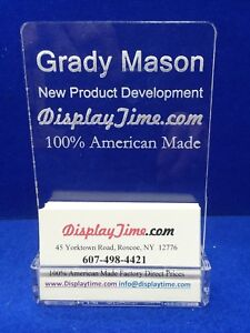 Personalized Acrylicglass Name Plate Bar Desk With Business Card Holder Vertical