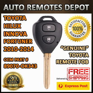 Genuine Toyota Hilux Innova Fortuner 2010 2014 Remote Fob Key 89070 0k343 Chip