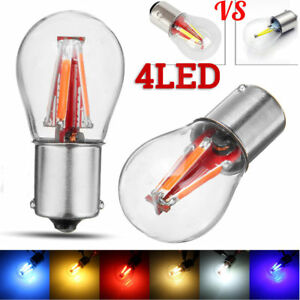 4 Led 1157 Bay15d Red Cob Bulb Lamp Car Reverse Turn Singal Rear Light 12 24v