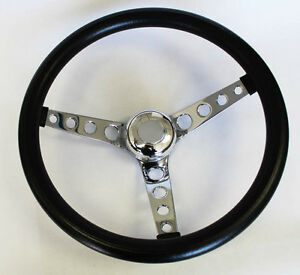 Ranchero Bronco F100 F250 Steering Wheel Gt Retro Black 14 1 2 Polished Cap