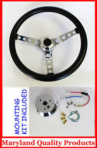Mercury Comet Cougar Montego Marquis Gt Black Steering Wheel 14 1 2 Black Cap