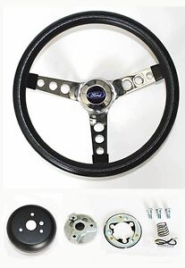 New 1965 1969 Ford Mustang Steering Wheel Black 14 1 2 Ford Center Cap