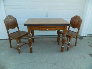 1930s Porcelain Top Foldout Kitchen Table Rare Brown Color W 2 Matching Chairs