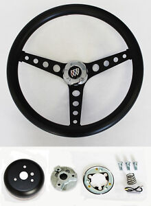 1964 1966 Buick Skylark Gran Sport Black On Black Steering Wheel 14 1 2