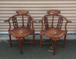 Vintage Chinese Teak Hand Made Corner Chairs Inlaid Mother Of Pearl