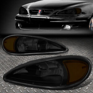 For 99 05 Pontiac Grand Am Pair Smoked Housing Amber Corner Headlight Head Lamps