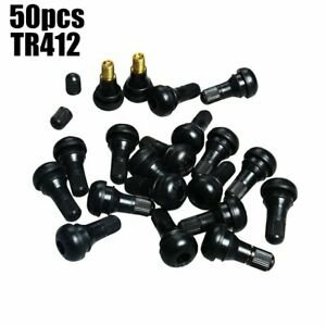 50pcs Tr412 Snap In Tire Wheel Valve Stems Short Black Rubber Kit Universal