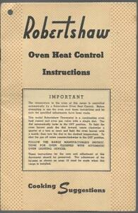 Lot Of 2 Vintage Robertshaw Thermostat Oven Heat Control Manuals