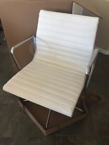 New Herman Miller Eames Aluminum Group Management Chair Edelman Pearl Leather