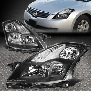 For 2007 2009 Nissan Altima Pair Black Housing Clear Corner Headlight Lamp Set