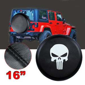 16 Skull Leather Spare Tire Wheel Cover For Jeep Liberty Wrangler Black Size L