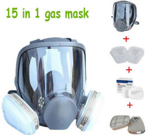 15 In 1 Suit Full Face Gas Mask F 3m 6800 Facepiece Respirator Painting Spraying