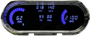 1963 1965 Chevy Nova Digital Dash Panel Gauge Cluster Blue Leds