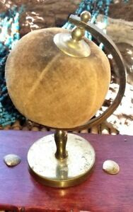 Globe Antique Pin Cushion Gold Velvet Brass Sewing Collectible