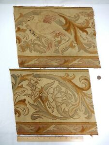 Wonderful Pair Of Antique Needlepoint Tapestry Fragments