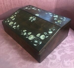 19th C Antique Lap Desk With Mother Of Pearl Inlay On Rosewood