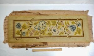 Antique Faded Rectangle Tudor Needlepoint Tapestry Panel 34 X 11 3 8