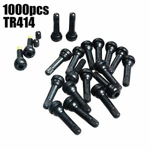 1000pcs Tr414 Snap in Tire Wheel Valve Stems Medium Black Rubber Kit Universal