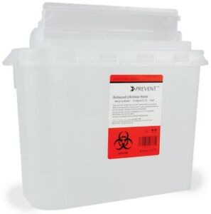 Prevent Sharps Container 2 piece 5 4 Quart Horizontal Entry Lid Case Of 20