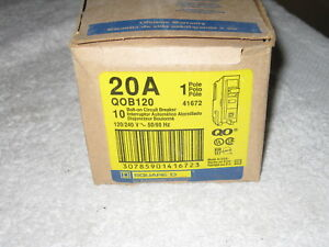 box Of 10 Square D Qob120 Circuit Breakers 20a 1p 120 240v
