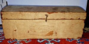 Antique Early 19th Century Dome Top Dowery Chest Wall Paper Box Primitive Bin