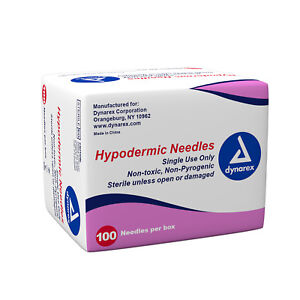 Dynarex Sterile Hypodermic Needles All Size Gauge Lengths 1000 case Free Ship
