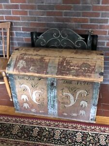 1826 Norwegian Rosemaled Wedding Dowry Trunk Folk Art Viking Norway Scandinavia
