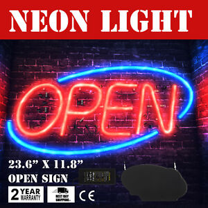 Horizontal 23 6 x11 8 Neon Open Sign 60w Led Light Clubs Wall Power Adapter